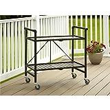 Rectangular Steel Folding Serving Cart in Sandy Brown