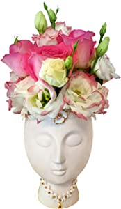 Face Vase. A Gorgeous Pink Face Planter or Head Vase, with Gold Foil Decoration. Uniquely styled Ceramic Vase ideal for Blush Pink Decor and Home Decor. A great Face Pot for Plants or a Ceramic Statue