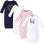 Hudson Baby Unisex Baby Cotton Gowns, Love 4-Pack, 0-6 Months