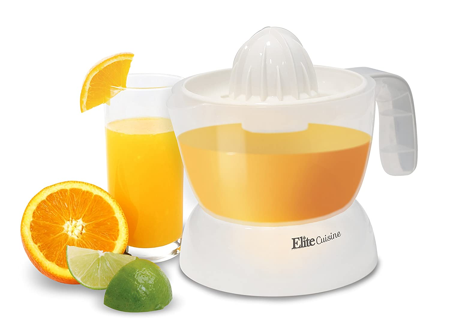 Elite Cuisine ETS-401 Citrus Juicer Manual Hand Squeeze Easy Pouring Spout, 16 oz, White