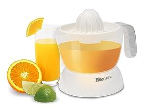 Elite Cuisine ETS-401 Citrus Juicer Manual Hand Squeeze Easy Pouring Spout, 16 oz, White