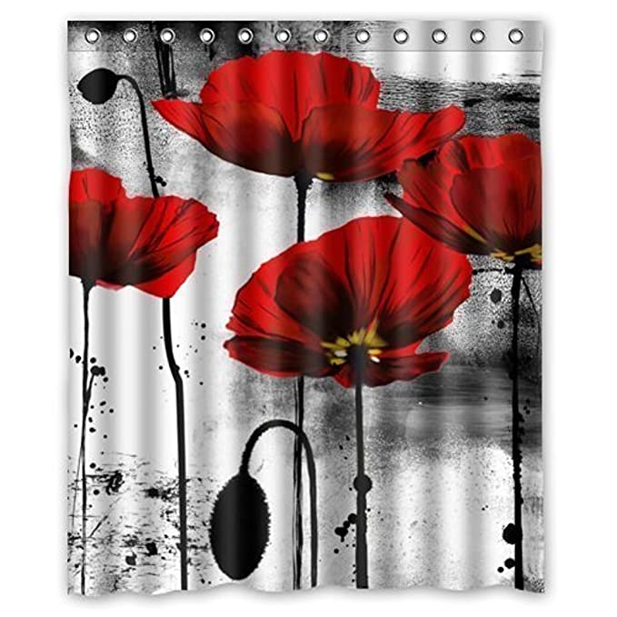 Beautiful Vintage Red Poppy Flower Ink Painting Art Design Mildew Proof Polyester Fabric Shower Curtain With
