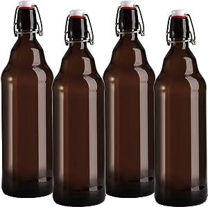 Jucoan 4 Pack Amber Glass Swing Top Bottles, 32oz / 1 Liter Flip Top Glass Beer Bottles with Airtight Stopper, UV Protection Glass Brewing Bottle for Beverages, Kombucha, Beer, Soda, Kefir