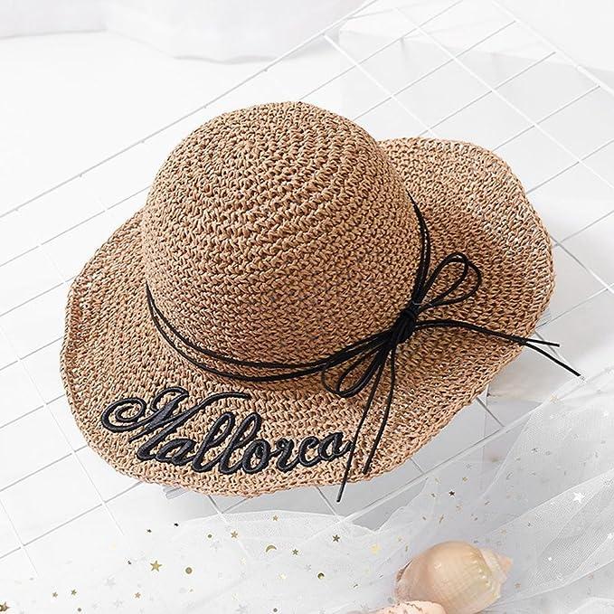 Dixinla visera Letra de bordada mano paja sombrero sombrero grande a lo largo  de sombrero de playa  Amazon.es  Deportes y aire libre 241fe2403dd
