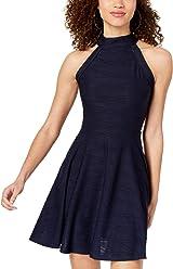 1e5fd3a9e B Darlin Juniors' Textured Halter Fit & Flare Dress