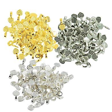 300pcs Mixed Color Alloy Heart Mini Glue On Bails Design Necklace Pendant