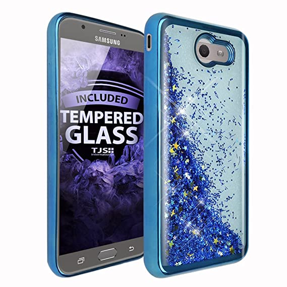 promo code 6a4db 02340 TJS Case for Samsung Galaxy J7 Sky Pro/Galaxy J7 Perx/Galaxy J7 V/Galaxy  Halo/Galaxy J7 Prime, [Tempered Glass Screen Protector] Glitter Liquid  Chrome ...