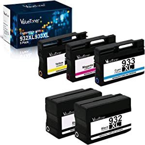 Valuetoner Remanufactured Ink Cartridge Replacement for HP 932XL 933XL 932 933 for Officejet 6600 6700 7612 6100 7610 7110 7100 7510 Printer (2 Black, 1 Cyan, 1 Magenta, 1 Yellow, 5 Pack)