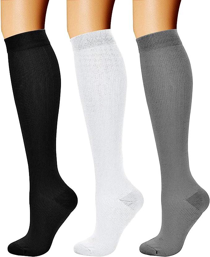 3 Pairs) 15-20 mmHg Compression Socks.
