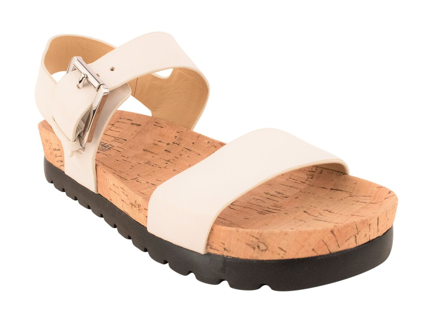 Michael Kors Judie Sandal Optic White Women's Leather/Cork Shoe by Michael Kors