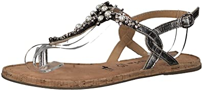 Tamaris 1-1-28099-20 Damen Sandale, Sandalette, Sommerschuhe Für Die Modebewusste Frau Metallic (Silver), EU 38