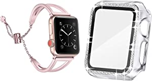 Secbolt 38mm Clear Bling Case with Screen Protector and Rose Gold Dressy Bangle for Apple Watch 38mm iWatch Series 3/2/1