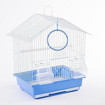 Gabbia per uccelli con mangiatoie gabbia per uccelli e piccoli uccelli 30 x 23 x 39 cm DZL