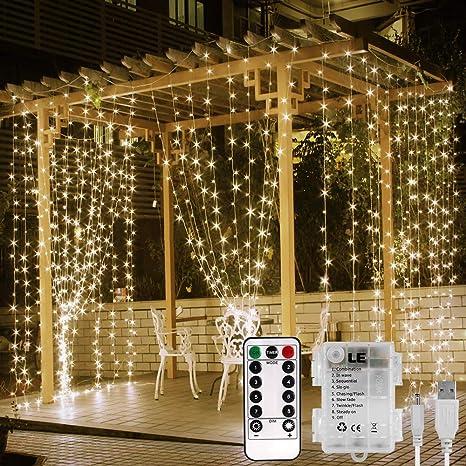 LE 3x3m 300 LED Cortina Luces LED Blanco cálido, USB o PILAS, 8 modos, Cadena de Luces Impermeable, Intensidad Regulable, Temporizador, Cortinas Luz ...