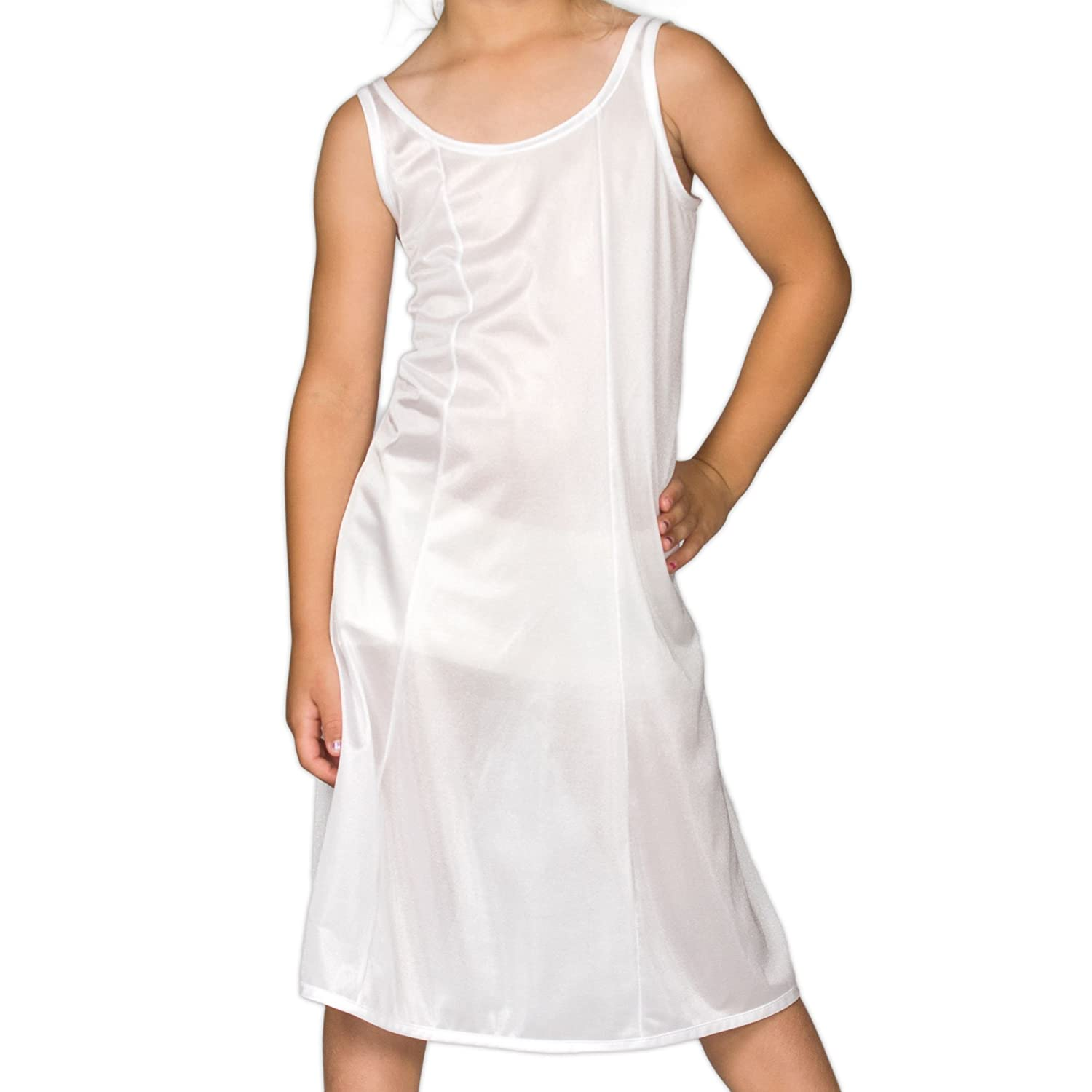 I.C. Collections Big Girls White Sleek Nylon Slip - Tea Length, 8 - 16 New ICM 000414-WHC-Can
