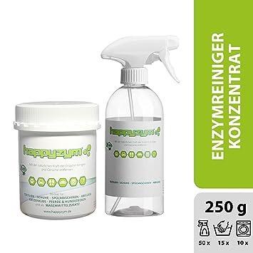 Happyzym Enzymreiniger 250g – ohne Duftstoffe gegen Gerüche, Flecken und Verschmutzungen für Haushalt, Gewerbe und Auto