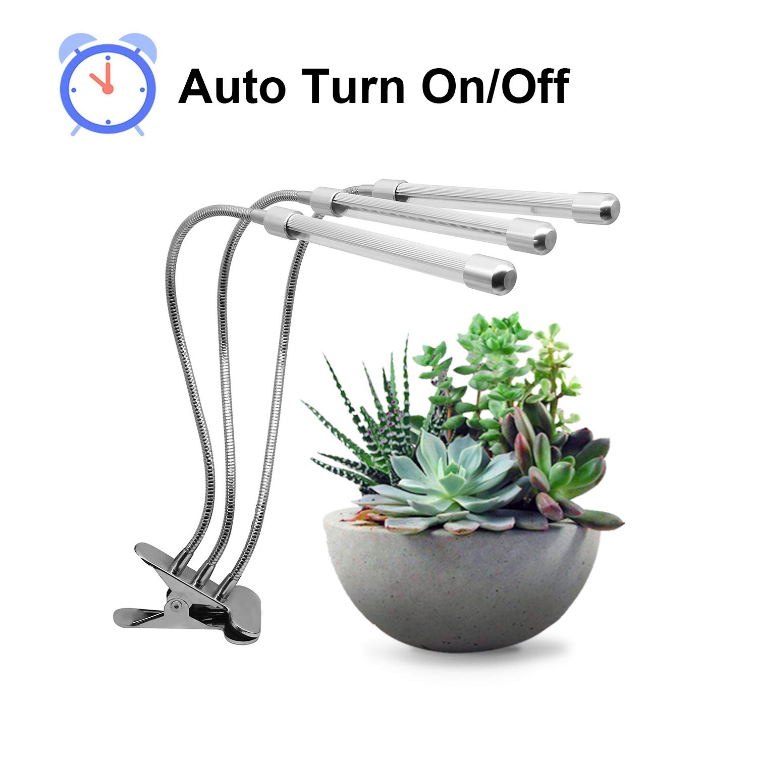 Plant Grow Light with Auto Turn On/Off Function, CANAGROW 27W 54 LED Plant Grow Lamps for Indoor Plants, 3 Head Timing Grow Light, 3/9/12H Timer, 5 Dimmable Levels, 360 Degree Adjustable Gooseneck