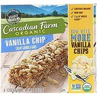 Cascadian Farm, 有机,有嚼劲燕麦棒,香草风味脆片,6条,1.2盎司(35克)每条
