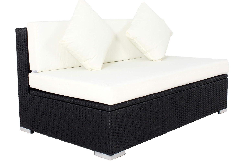 Outflexx 2-Sitzer Mittelelement, Kissenbox funktion, Polyrattan, Schwarz, 140 x 85 x 70 cm