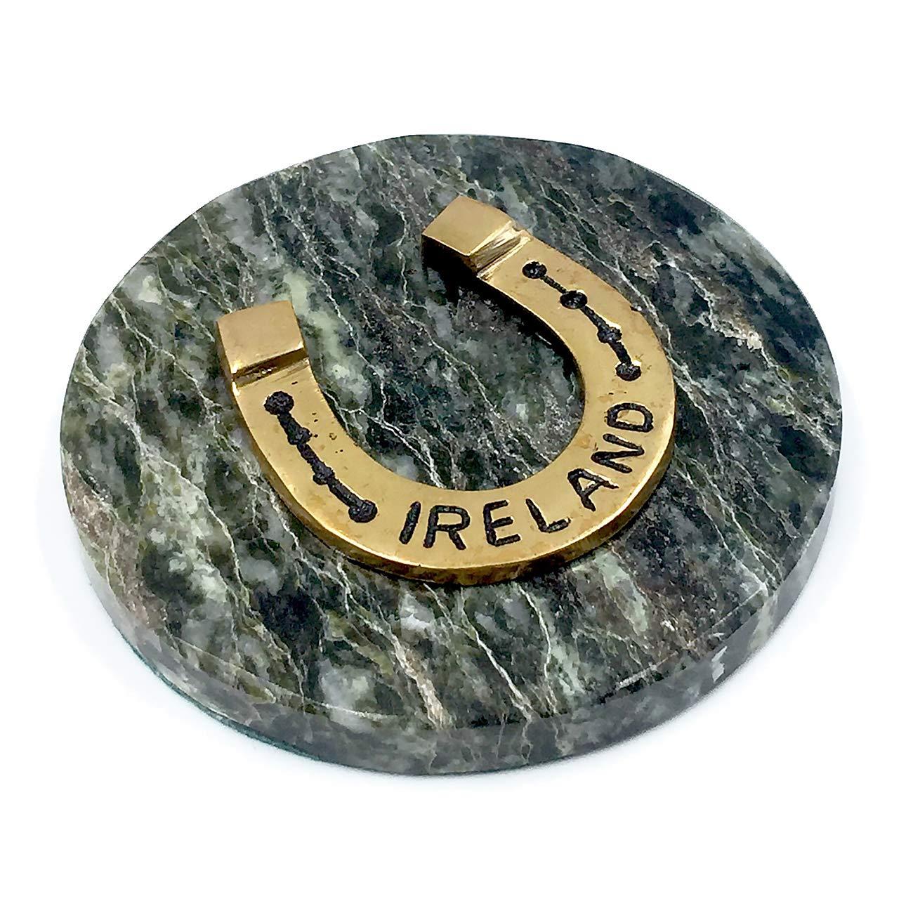 Connemara Irish Marble Paperweight w/Horseshoe Ireland by Connemara
