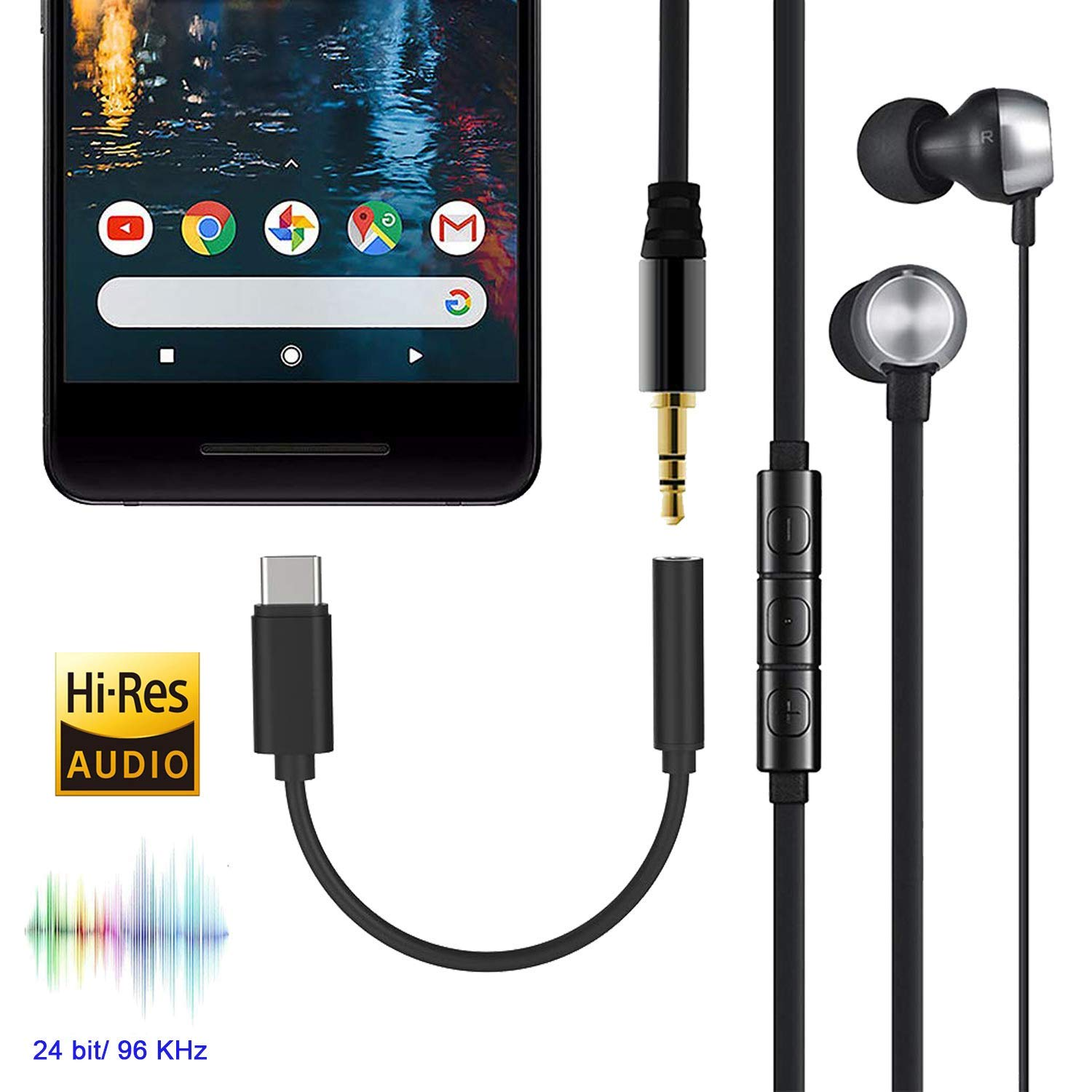 USB-C to 3.5 mm Headphone Jack Adapter Connector USB Type C to 3.5mm AUX Cables Audio Jack Earphone Adaptor for iPad Pro//MacBook Google Pixel 3//2 XL,Huawei P30 Pro//Mate 20//20 Pro,Samsung A8S-Black