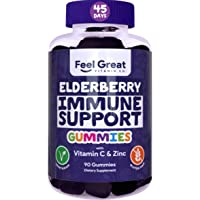 Elderberry Gummies by Feel Great Vitamin Co. (90 Gummies) for Adult & Kids with Immune Support* | Plant & Pectin Based Formula with Vitamin C and Zinc | Sambucus Nigra Supplement