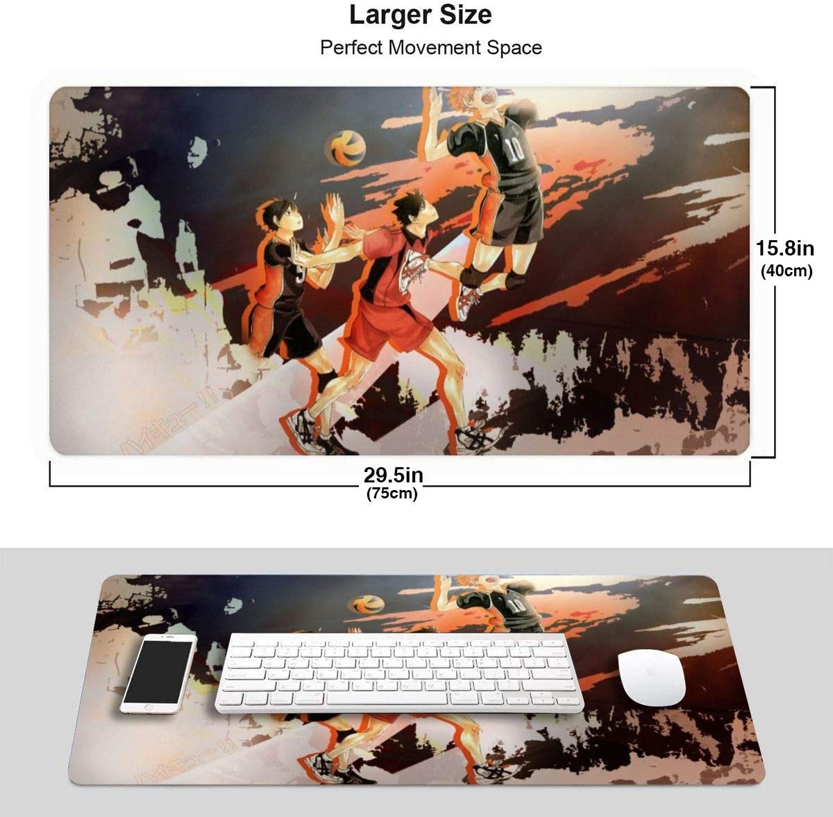 Gaming Large Mouse Pad Haikyuu! Base for Work and Play Office and Home Anime Mouse Mat