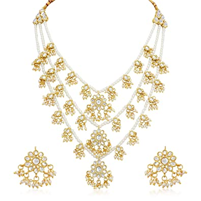 Kundan Pearl Multi Color Indian Fashion Wedding Gold Plated Jewelry Necklace Set