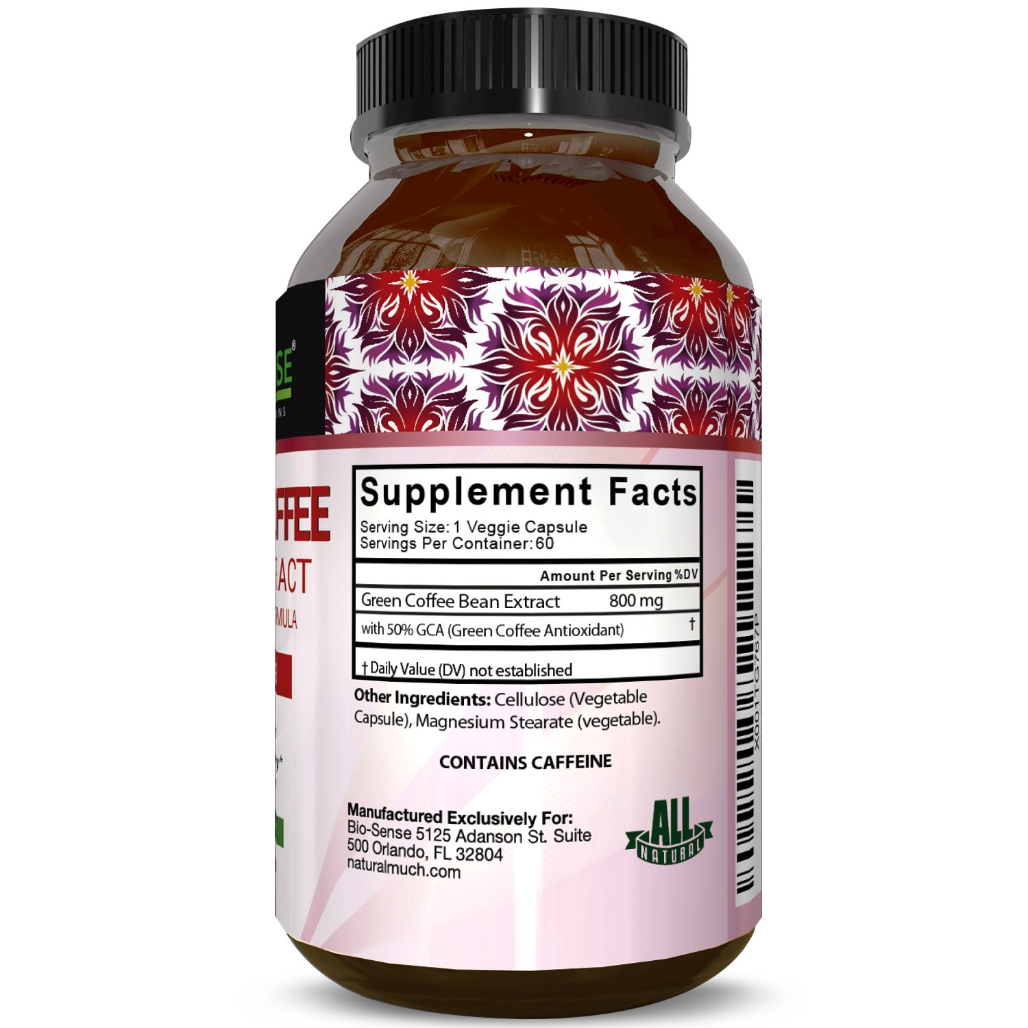 Pure Green Coffee Bean Extract for Weight Loss Pills - Dietary Supplement to Burn Fat Curb Appetite and Boost Metabolism for Men and Women - Contains Antioxidants to Detox and Cleanse - 800mg Capsules by Bio Sense (Image #3)