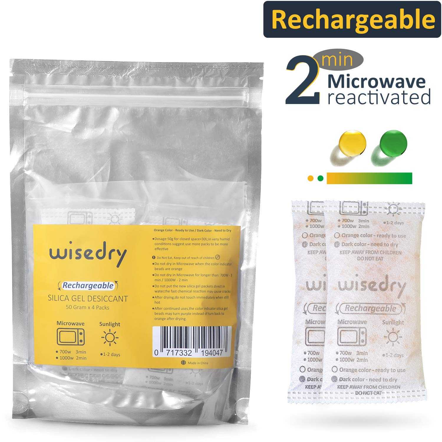wisedry 50 Gram [4PACKS] Microwave Fast Reactivate in 2MINS Silica Gel Packets Desiccant Packs Reusable Moisture Absorber for Closet Gun Safes Bathroom Bedroom Basement Storage Color Indicating Viola Technology VB-50G