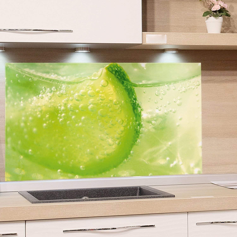 GRAZDesign Spritzschutz Grün Limette - Küchenrückwand Glas als Wand Schutz  Herd - Glasbild als Kunstdruck - Edles Glas / 49x49cm