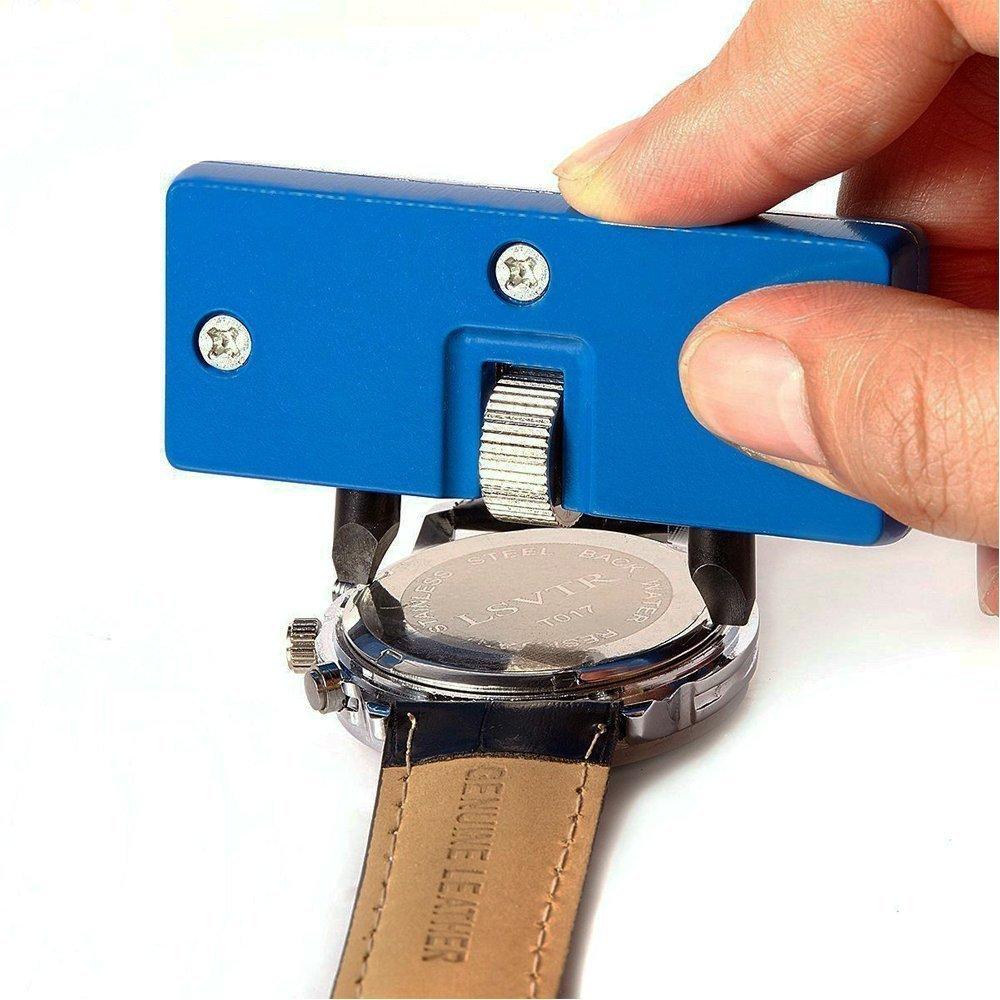 Racksoy Uhrrückenabdeckung Uhrenkasten Öffner Abzieher + Uhrenschließer Einpresswerkzeug Gehäuseschliesser Uhrrückenabdeckung Drucker mit Druckplatten Kunststoffeinsätzen als Uhr Reparatur Werkzeug