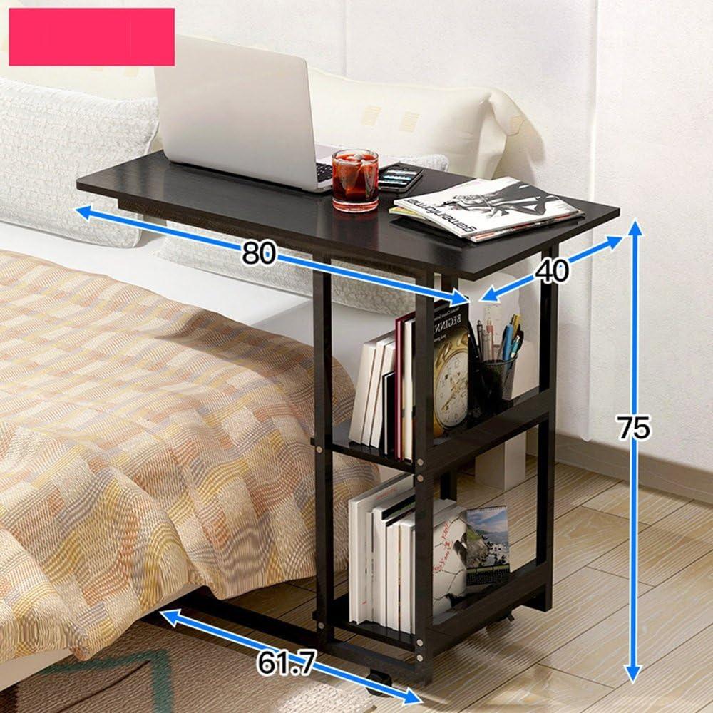 Super Kh® モバイルホームベッドルームシンプルデスク多機能本棚ベッドサイドテーブル怠惰なラップトップデスクベッドホイールテーブルを使用して * (色 : B)