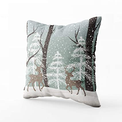 Cool Grootey Square Pillow Covers With Zip Couch Sofa Decor Winter Landscape Deerssnow Tree 18X18 Throw Cushion Inzonedesignstudio Interior Chair Design Inzonedesignstudiocom