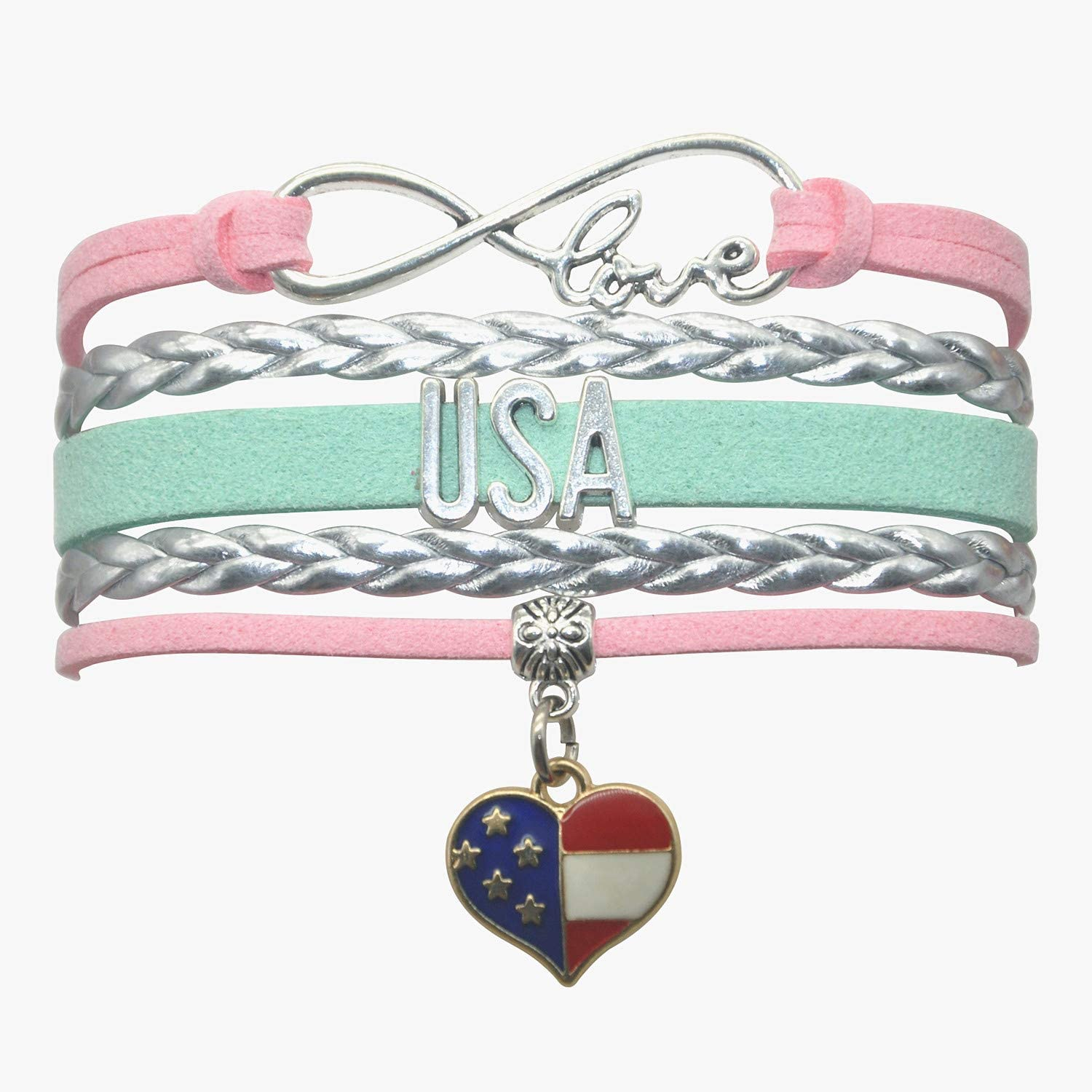 American USA Bracelet Jewelry - HCChanshi Infinity Love Cute USA American Flag Bracelet USA Gifts For Women, Girls, Men, Boys, American Flag Gifts, USA Flag Gifts