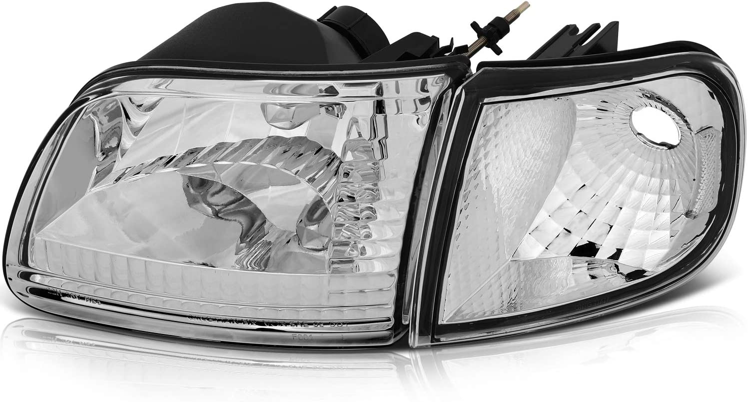 ECCPP Headlight Assembly For Ford Expedition 1997-2002,For Ford F-150 1997-2003,For Ford F-150 Heritage 2004,For Ford F-250 1997-1999 Headlamps Chrome Housing Clear Lens Left+Right Side