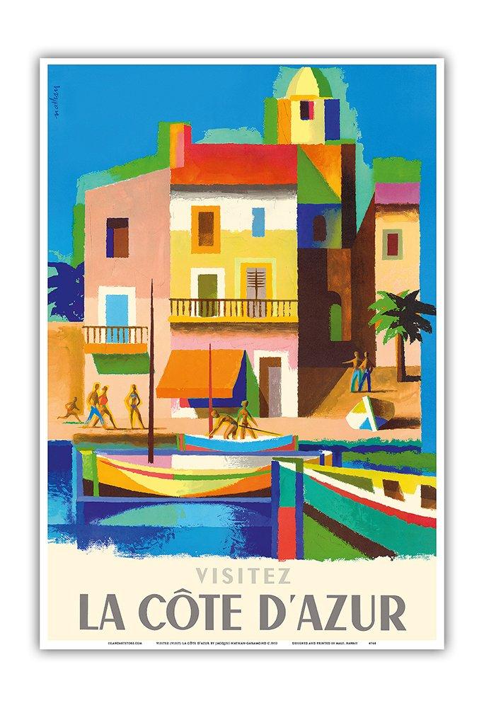 France 12in x 18in Visit Master Art Print Visitez La C/ôte DAzur Vintage World Travel Poster by Jacques Nathan-Garamond c.1953 French Riviera