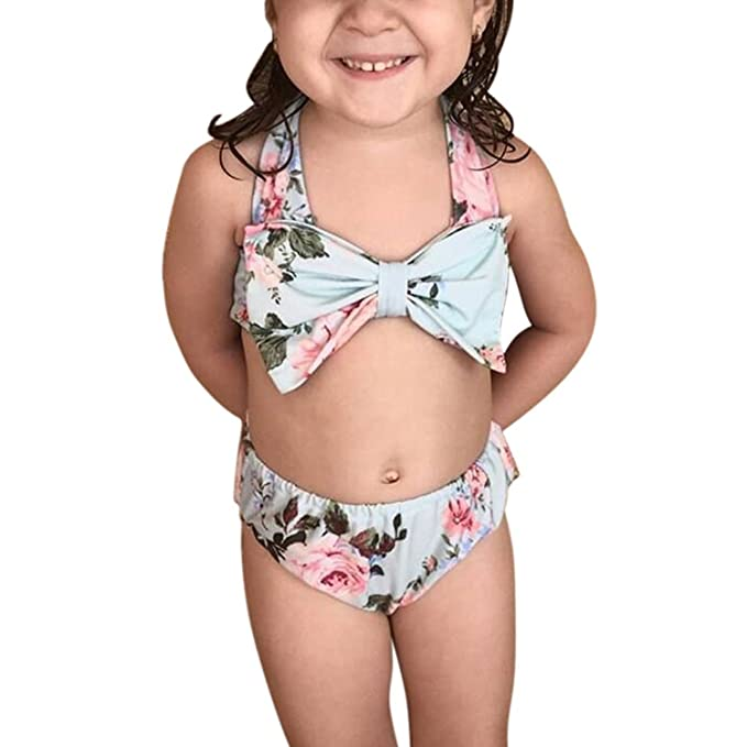 80ed656118f89 Ocamo Kidlove Baby Girl Floral Bow Halter Bikini Set Two Piece Swimsuit  size:12-24M: Amazon.in: Clothing & Accessories