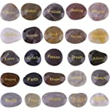Cyanbamboo Engraved Inspirational Gift Stones Words Natural Stones Lettering for Prayer Faith Meditation (25 Different…