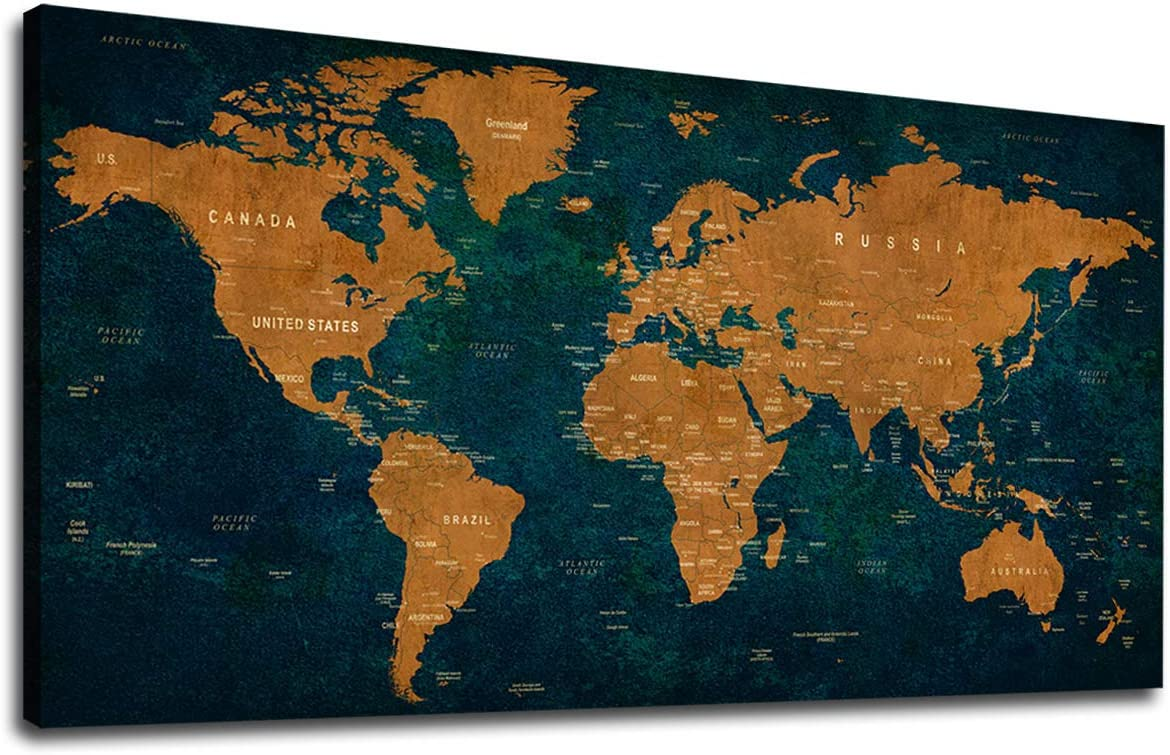 Vintage World Map Canvas Wall Art Abstract Canvas Picture Large Antiqued Blue Brown Map of The World Canvas Artwork Prints for Living Room Bedroom Office Home Wall Decor Framed Ready to Hang 30