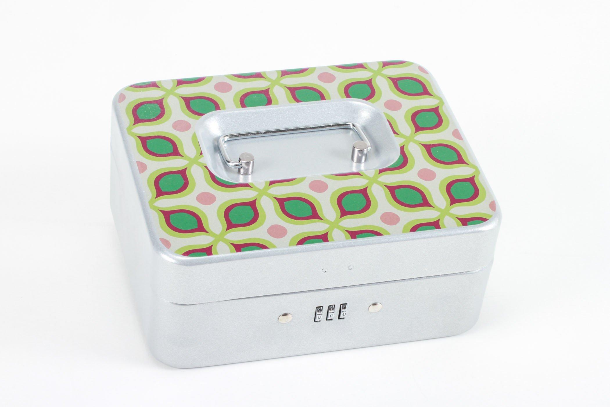 Personal Storage Combination Lock Box- Flirty Green (Silver, Small)