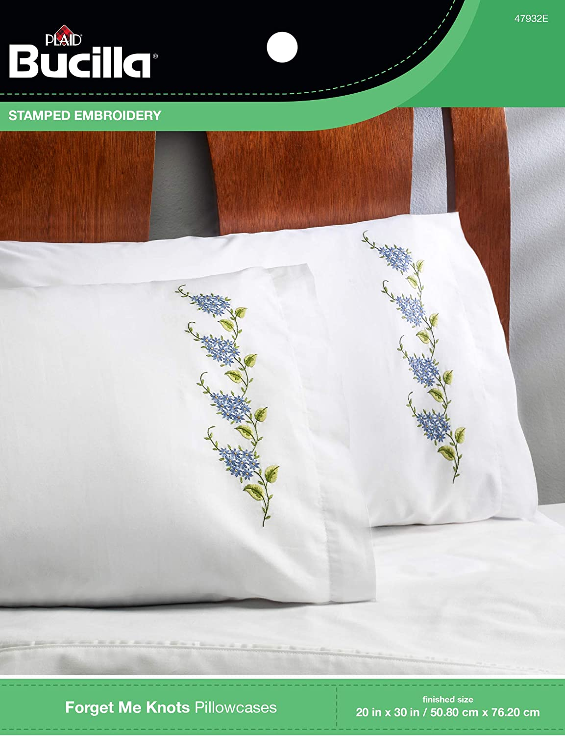 Bucilla Forget Me Knot Stamped Embroidery Pillowcase Kit