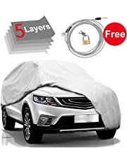 "KAKIT Car Cover SUV Cover - 5 Layers Windproof Waterproof for Indoor Outdoor, All Weather Proof Covers for SUV, Windproof Ribbon & Anti-Theft Lock, Fits up to 204"" SUV"