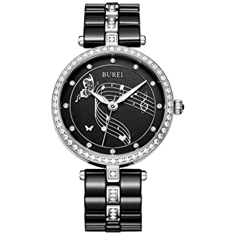 d4d0b2be0dd8 BUREI Women Watch Dress Classic Design for Ladies Wristwatch with Ceramic  Band (Black)