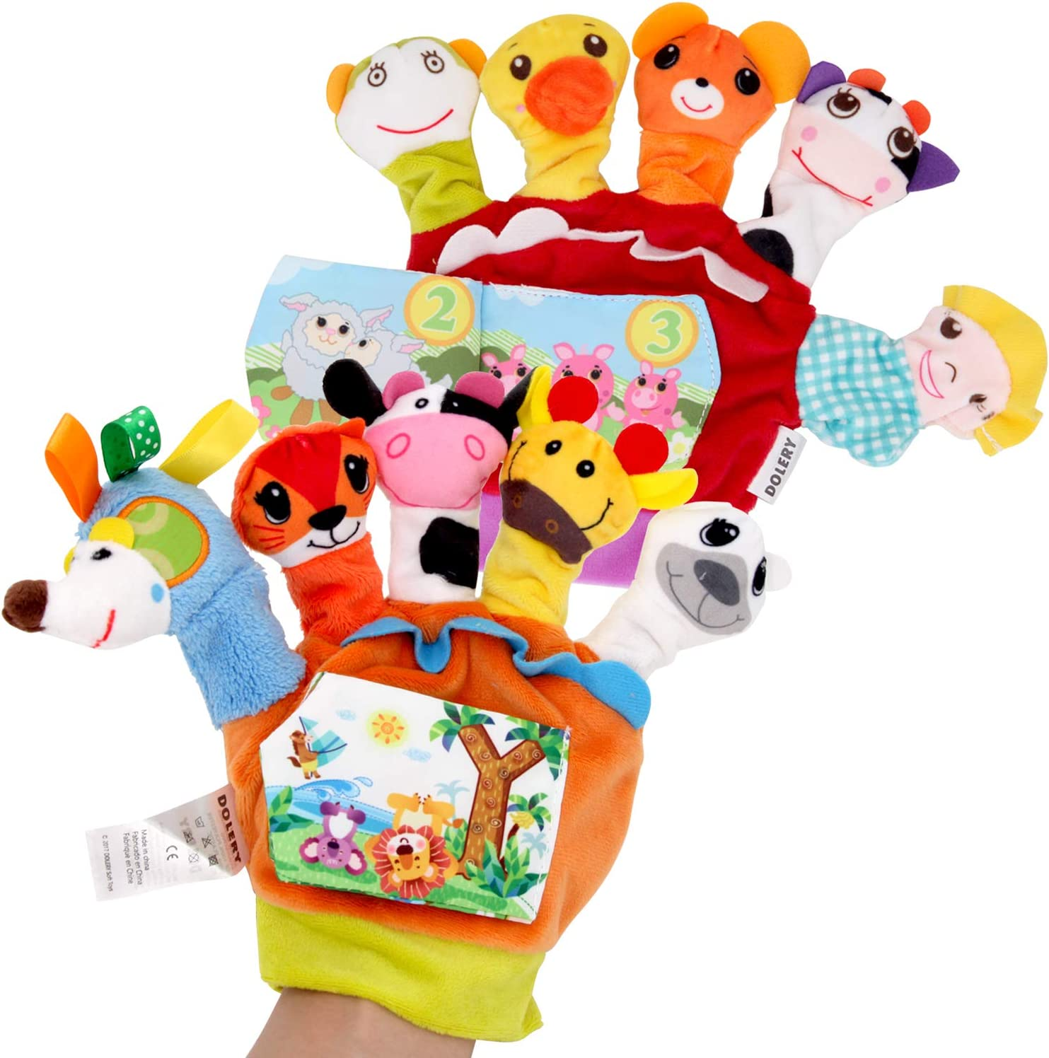 Sealive Farm Animals Hand Puppets Set with Cloth Book Story Telling, 10 pcs Finger Puppet Soft Gloves Handpuppets Toys for Kids Toddlers