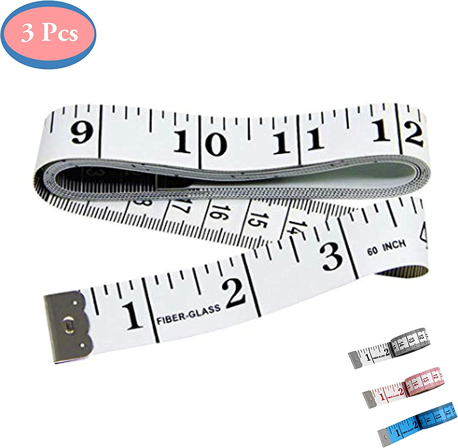 1 Plus 2 Measuring Tape for Body Measurements 3 PCS Double-Scale 60-Inch//150cm Soft Tape Measure Ruler Bulk for Sewing Tailor Cloth,Medical Measurement,Body Measurements Multicolors