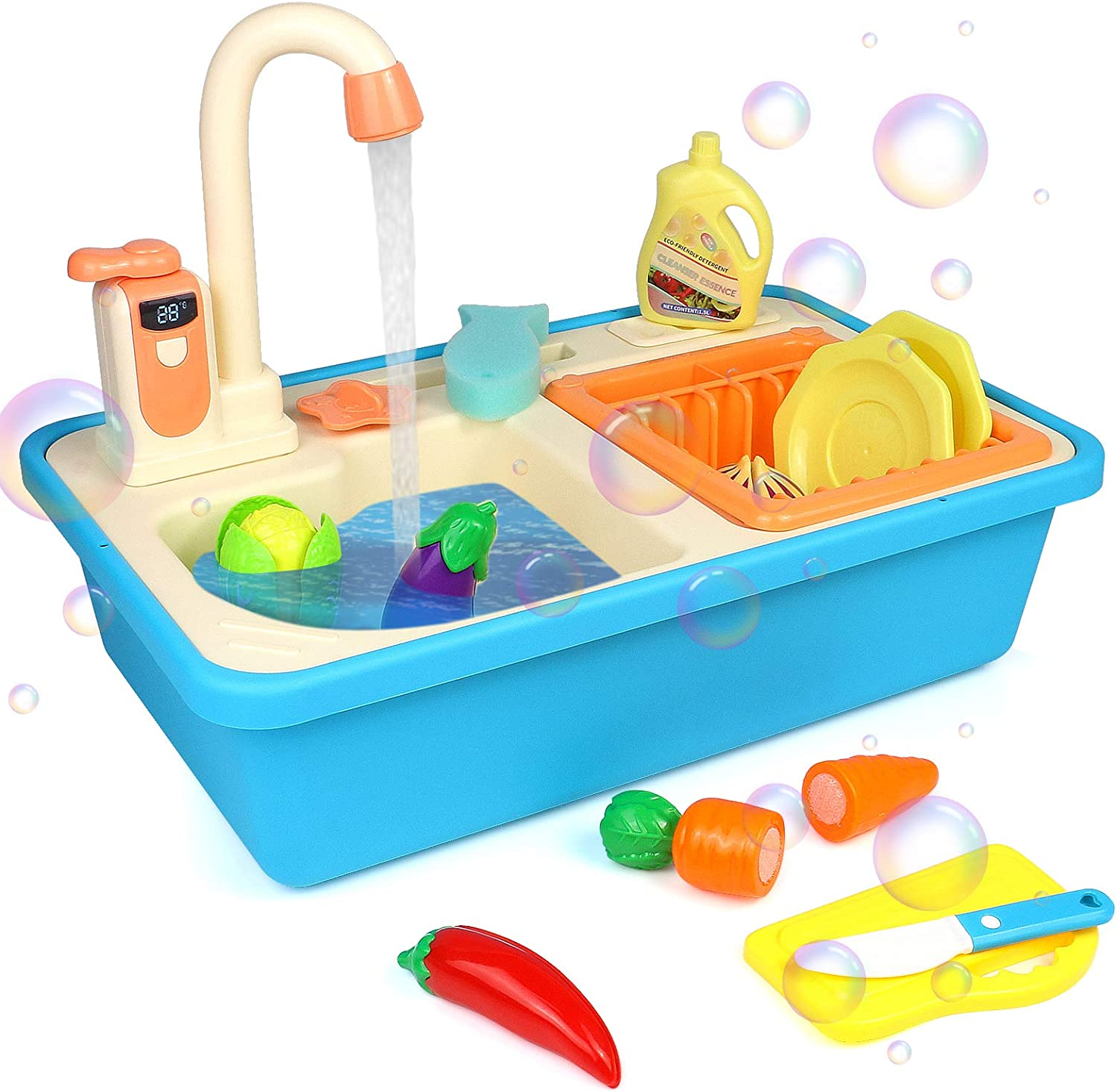 Fajiabao Kitchen Sink Toy with Running Water Play Fruits Vegetables Cutting Games Pretend Play Preschool Toys Indoor Outdoor Activities Food Kits Boys Girls Kids Holiday Birthday Gift 3 4 5 Years Old