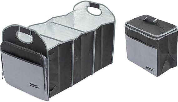 Internet's Best Trunk Storage Organizer with Removable Cooler - Large Car Storage Organizer - Collapsible Grocery Organizer - Zipper Pocket Handles