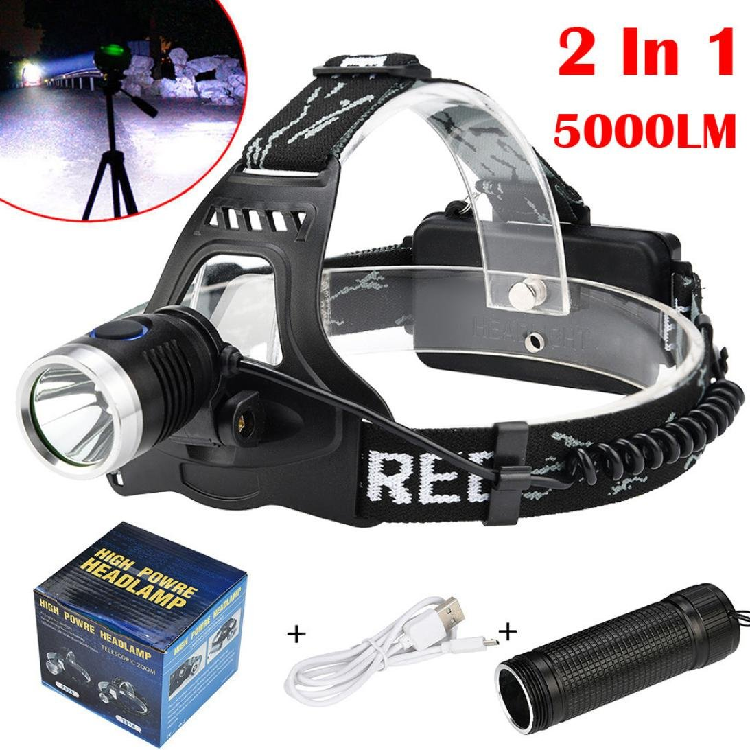 Coerni 2-in 1 Waterproof 5000 lumens LED Headlamp and Flashlight USB Rechargeable (B-No Battery)