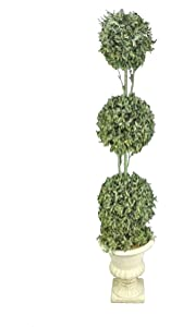 Admired By Nature ABN4X001-FROSGRN Faux Preserved Boxwood Topiary Artificial Plant Tree Tabletop with Triple Pot, Frosted Green, 3 Balls - FROSGRN